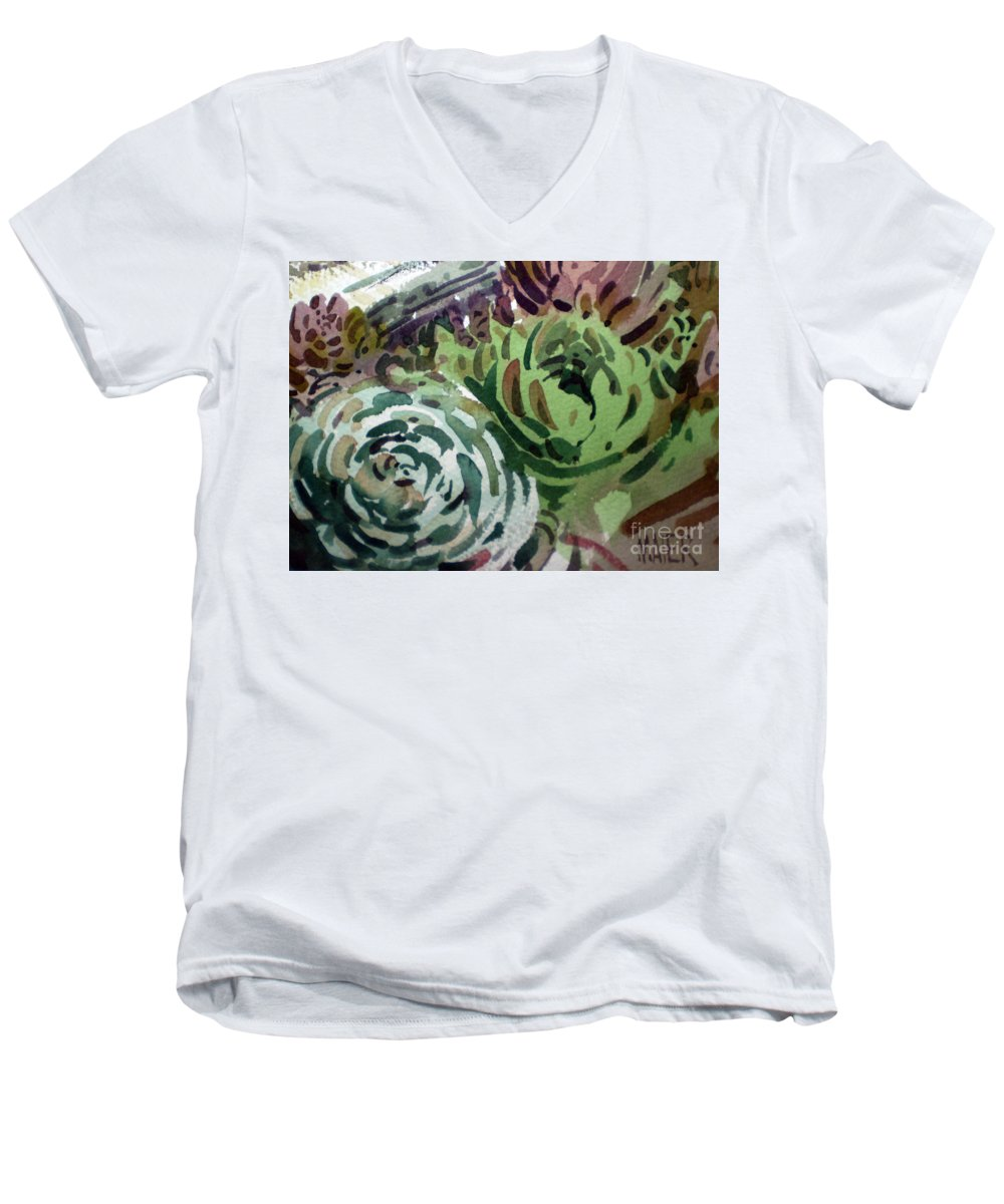 Succulent Plants Men's V-Neck T-Shirt featuring the painting Hen And Chicks by Donald Maier