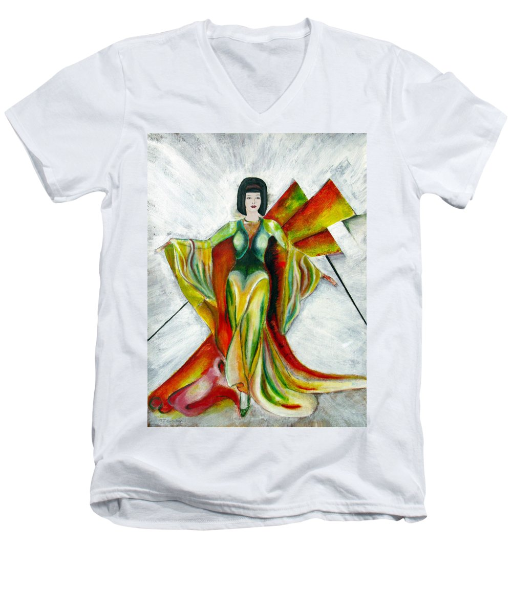 Dress Men's V-Neck T-Shirt featuring the painting Here Comes The Sun by Tom Conway