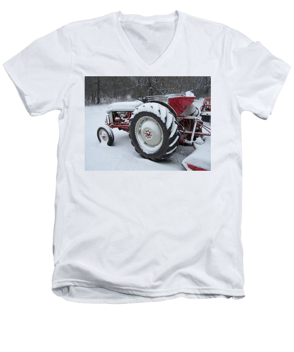 Tractor Men's V-Neck T-Shirt featuring the photograph Herman by Gale Cochran-Smith