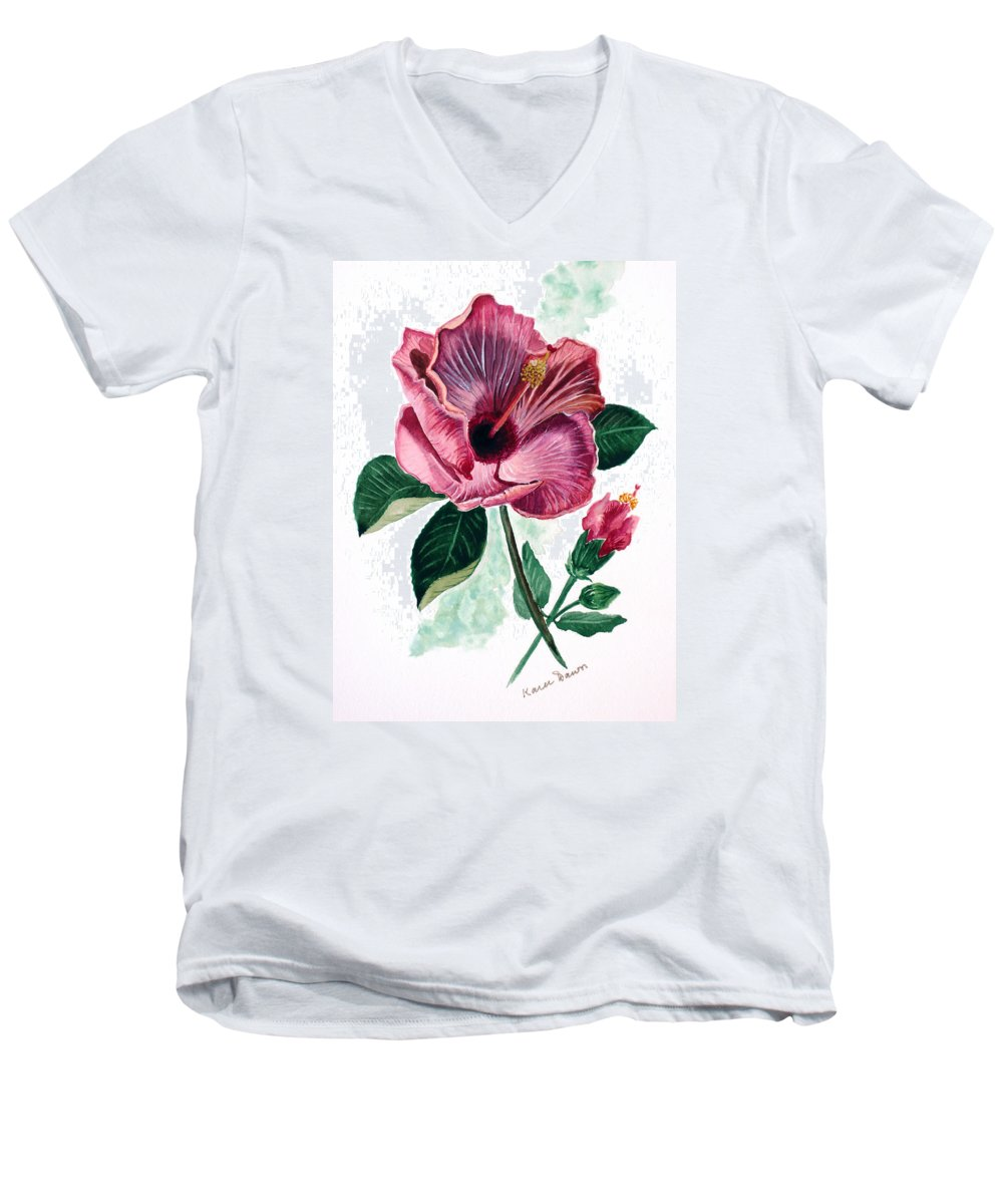 Flora Painting L Hibiscus Painting Pink Flower Painting Greeting Card Painting Men's V-Neck T-Shirt featuring the painting Hibiscus Dusky Rose by Karin Dawn Kelshall- Best