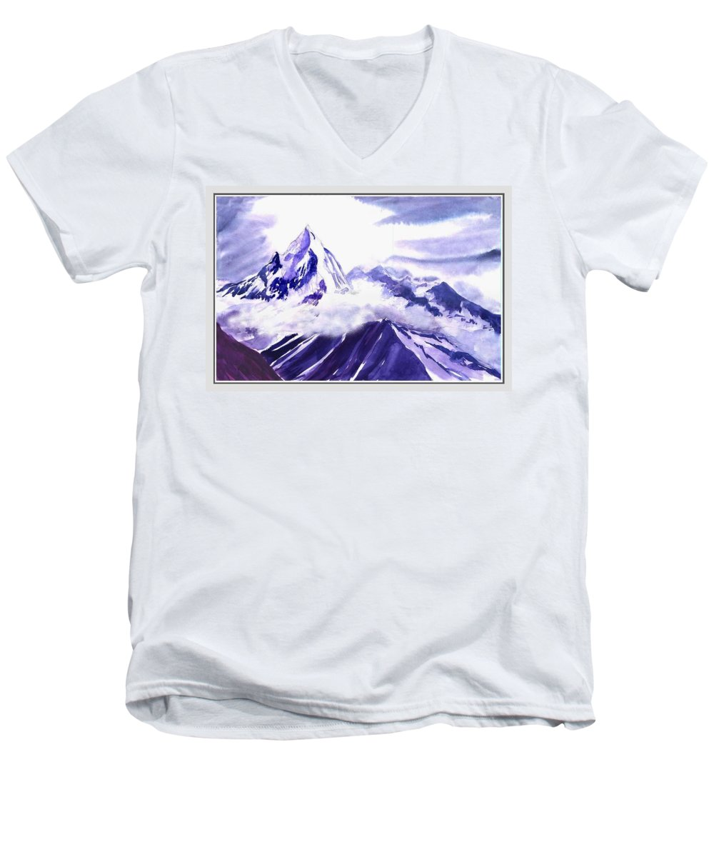 Landscape Men's V-Neck T-Shirt featuring the painting Himalaya by Anil Nene