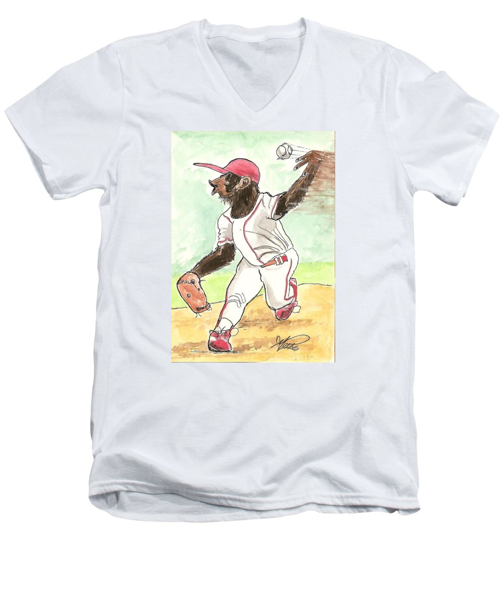 Baseball Men's V-Neck T-Shirt featuring the drawing Hit This by George I Perez