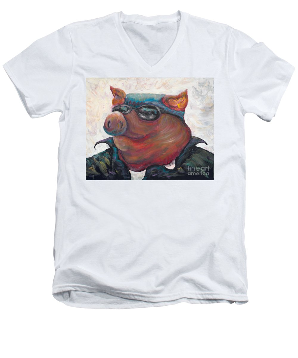 Hog Men's V-Neck T-Shirt featuring the painting Hogley Davidson by Nadine Rippelmeyer