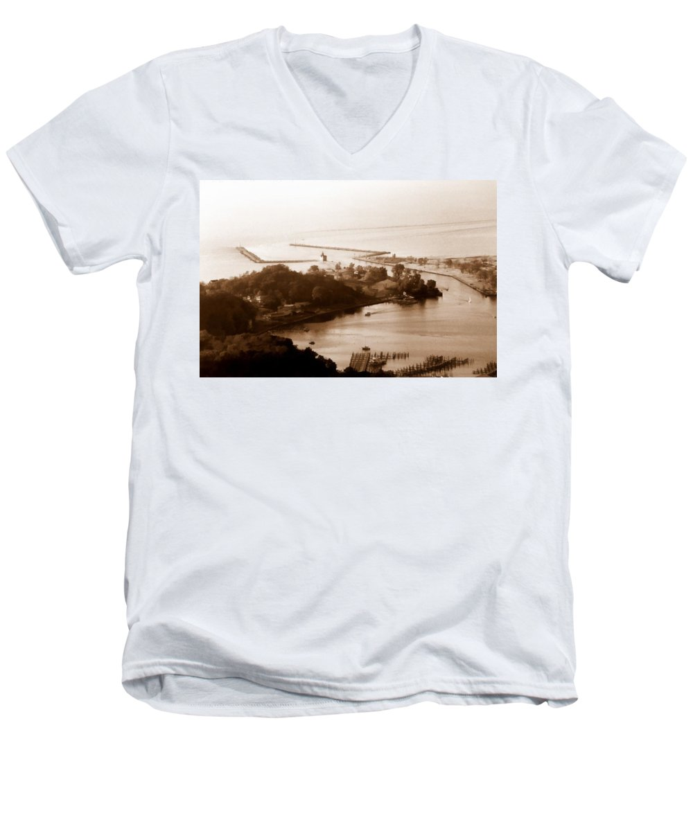 Holland Men's V-Neck T-Shirt featuring the photograph Holland Michigan Harbor Big Red Aerial Photo by Michelle Calkins