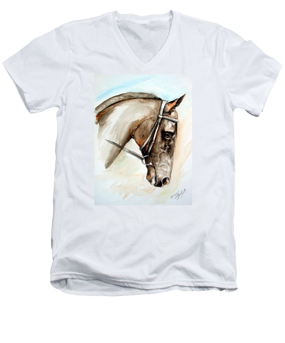 Horse Men's V-Neck T-Shirt featuring the painting Horse Head by Leyla Munteanu