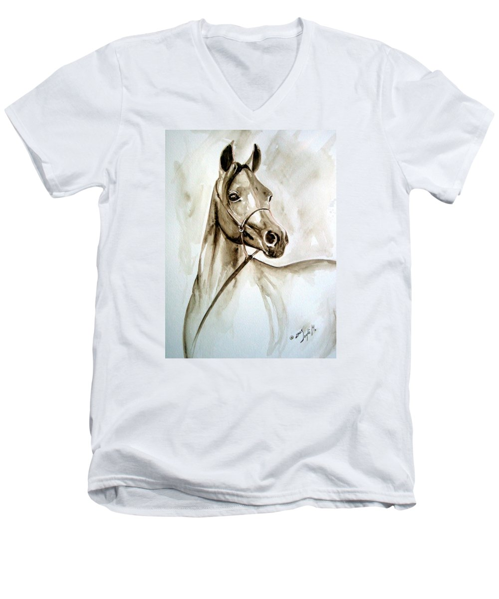 Portrait Of A Horse Men's V-Neck T-Shirt featuring the painting Horse by Leyla Munteanu