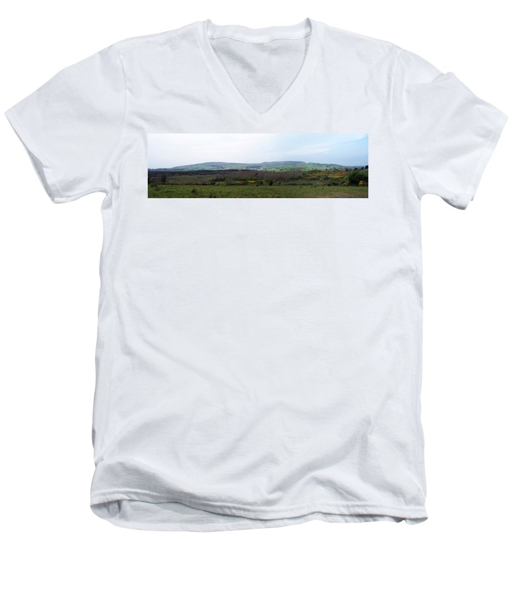 Ireland Men's V-Neck T-Shirt featuring the photograph Horses At Lough Arrow County Sligo Ireland by Teresa Mucha