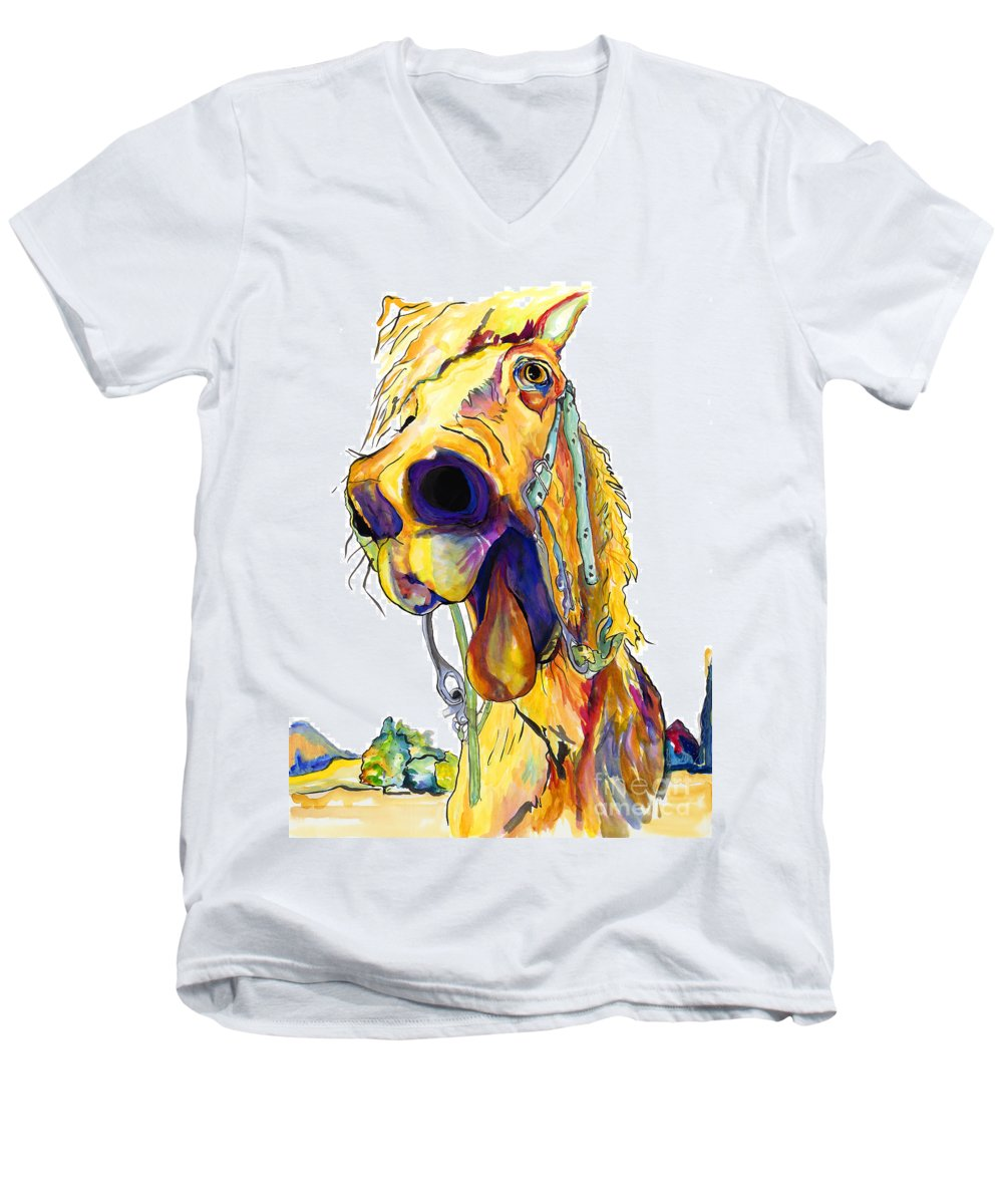 Animal Painting Men's V-Neck T-Shirt featuring the painting Horsing Around by Pat Saunders-White
