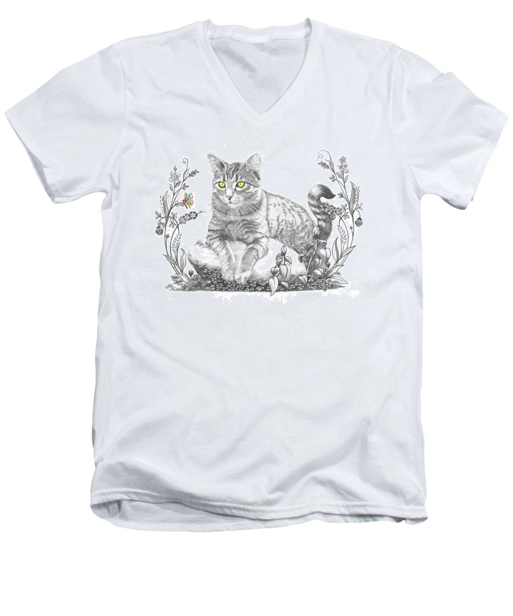Cat Men's V-Neck T-Shirt featuring the drawing House Cat by Murphy Elliott