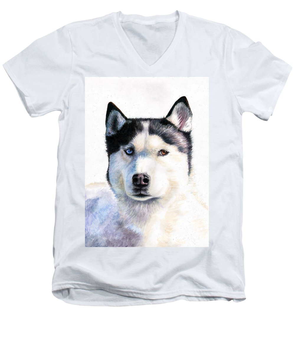 Dog Men's V-Neck T-Shirt featuring the painting Husky Blue by Nicole Zeug