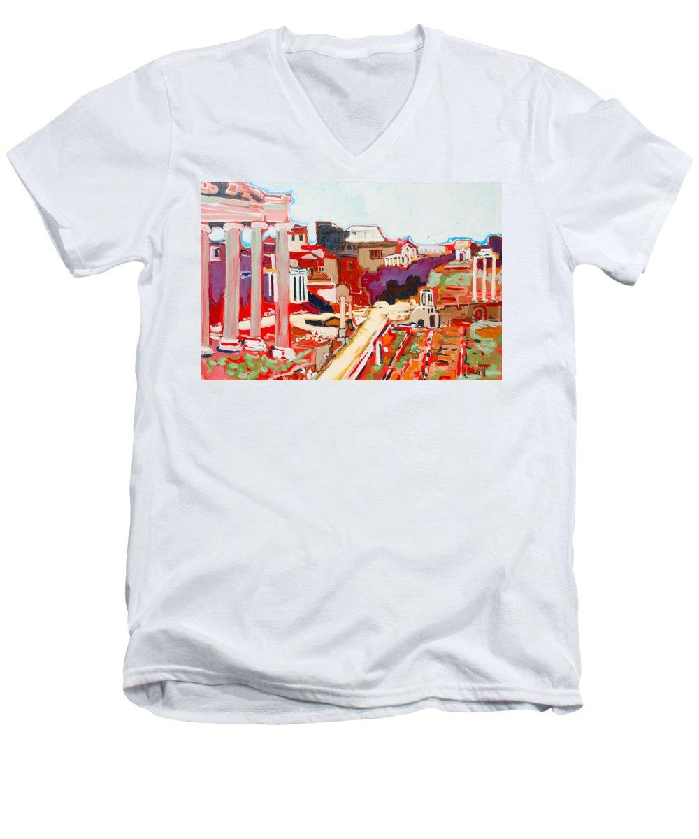 Rome Men's V-Neck T-Shirt featuring the painting Il Foro Romano by Kurt Hausmann