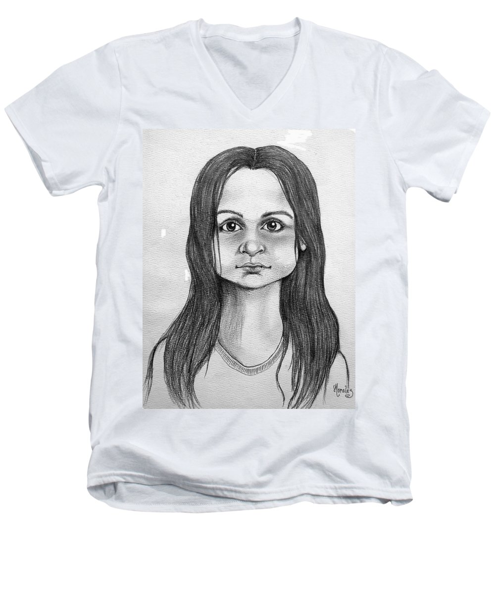 Portrait Men's V-Neck T-Shirt featuring the drawing Immigrant Girl by Marco Morales
