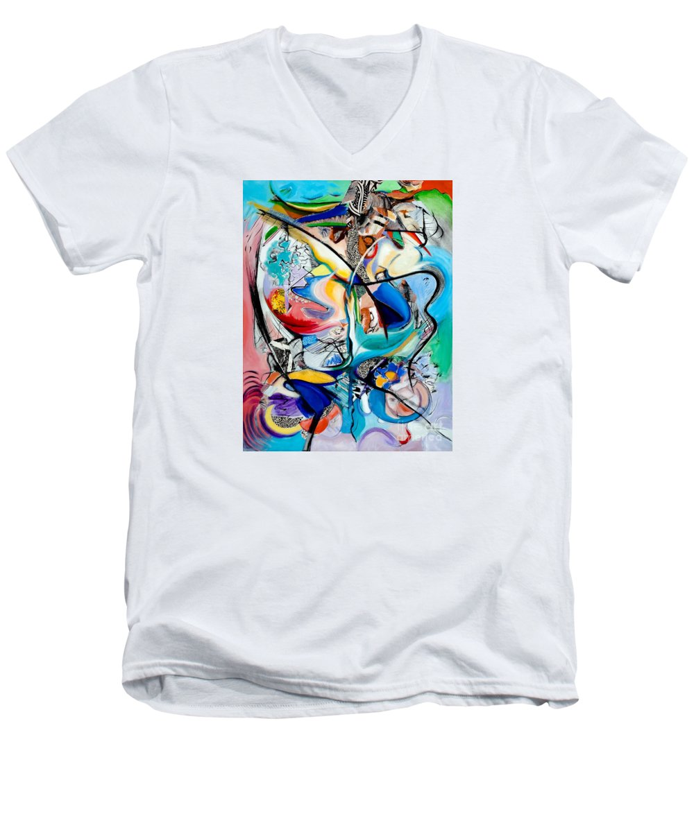 Abstract Men's V-Neck T-Shirt featuring the painting Intimate Glimpses - Journey Of Life by Kerryn Madsen-Pietsch
