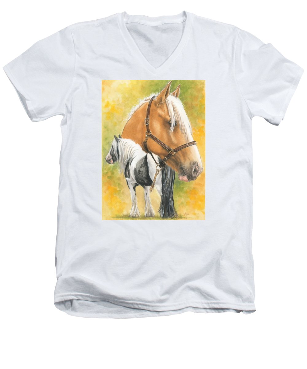 Draft Horse Men's V-Neck T-Shirt featuring the mixed media Irish Cob by Barbara Keith