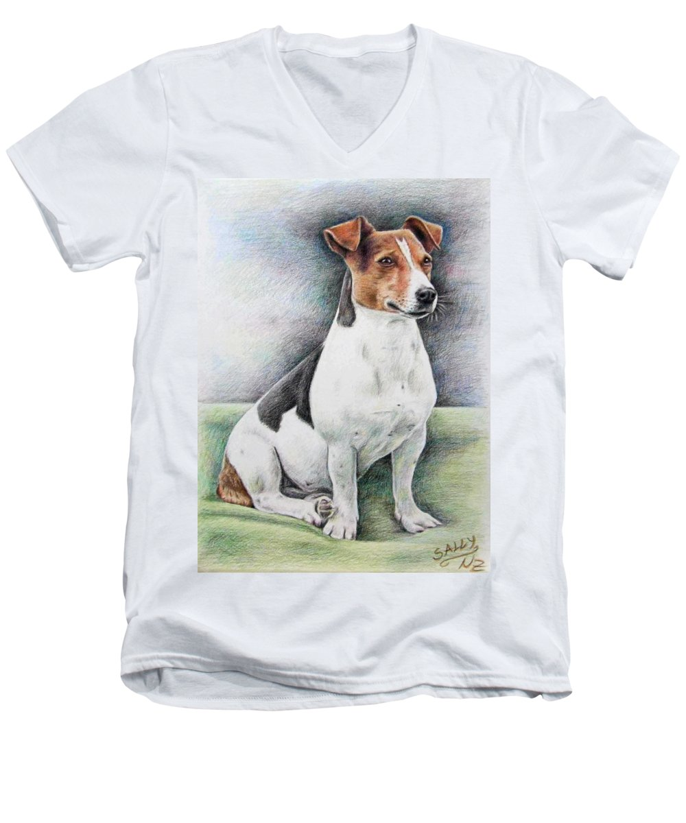 Dog Men's V-Neck T-Shirt featuring the drawing Jack Russell Terrier by Nicole Zeug