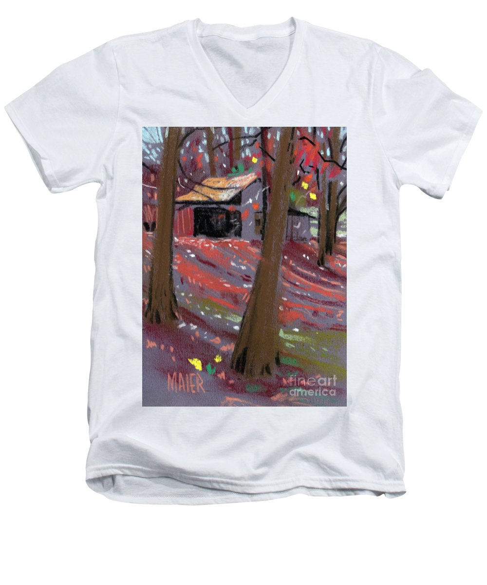 Barns Men's V-Neck T-Shirt featuring the drawing James's Barns 3 by Donald Maier