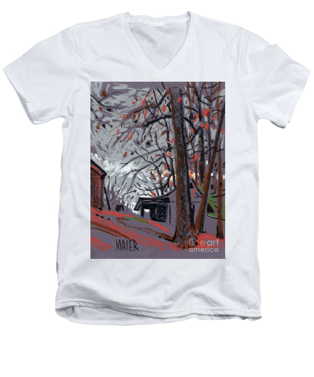 Barns Men's V-Neck T-Shirt featuring the drawing James's Barns 7 by Donald Maier