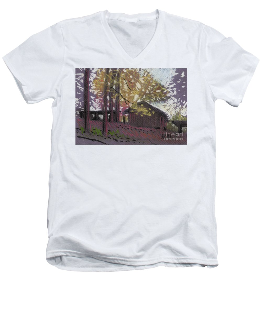 Pastel Men's V-Neck T-Shirt featuring the drawing James's Barns 9 by Donald Maier
