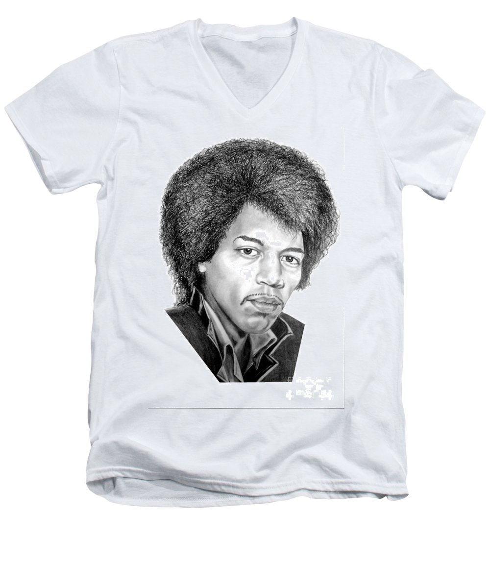Jimmi Hendrix Men's V-Neck T-Shirt featuring the drawing Jimmi Hendrix By Murphy Art. Elliott by Murphy Elliott