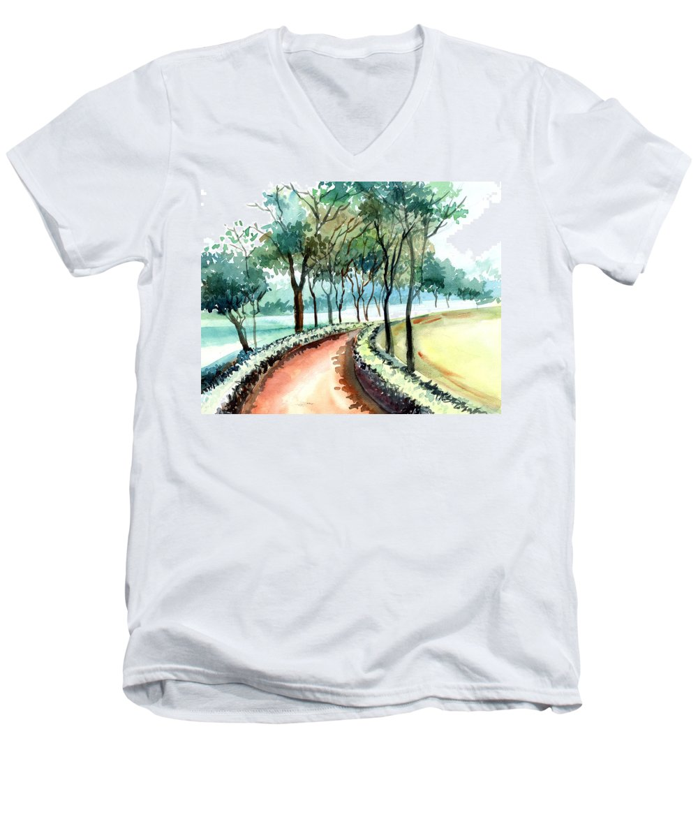 Landscape Men's V-Neck T-Shirt featuring the painting Jogging Track by Anil Nene