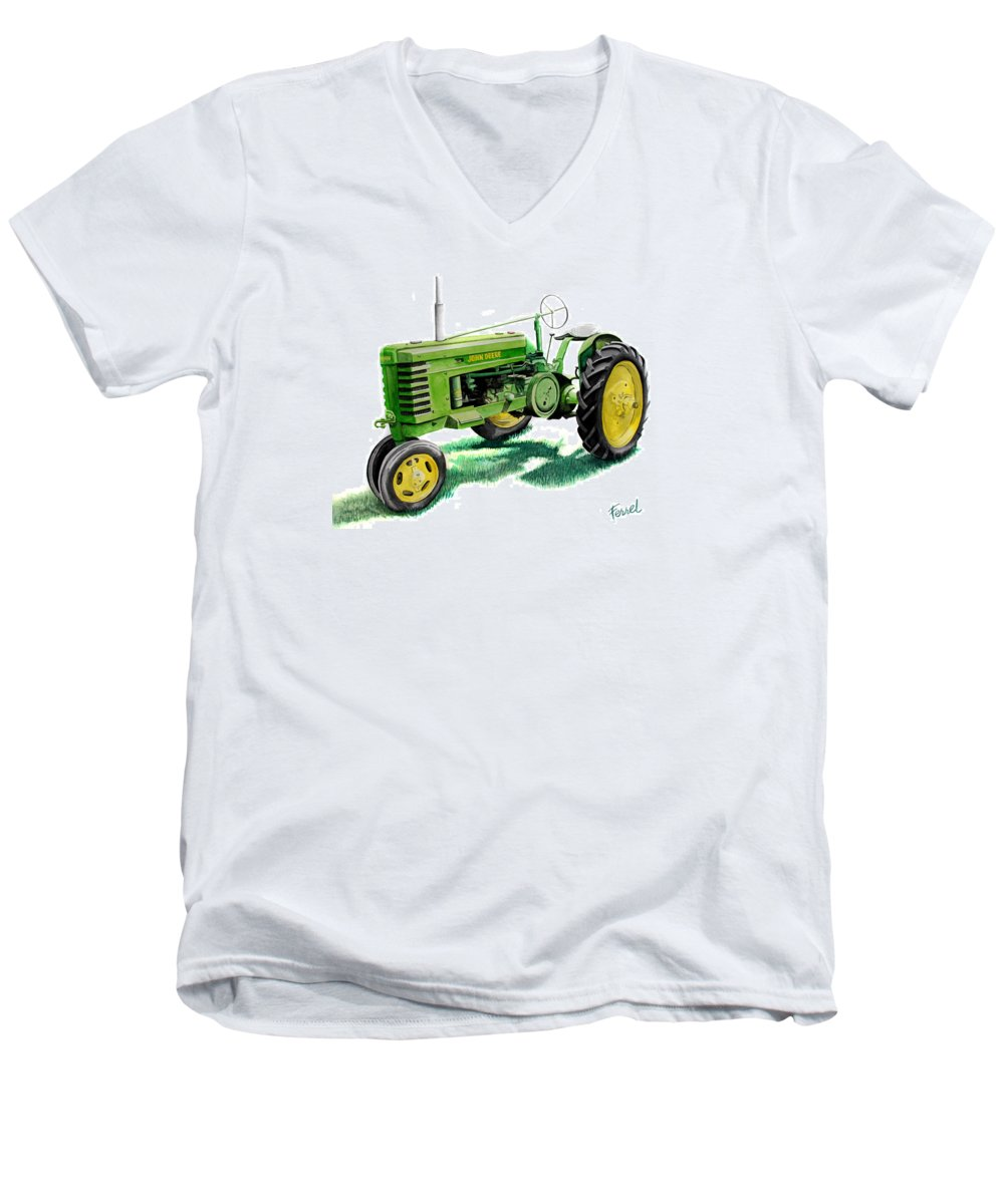 John Deere Tractor Men's V-Neck T-Shirt featuring the painting John Deere Tractor by Ferrel Cordle