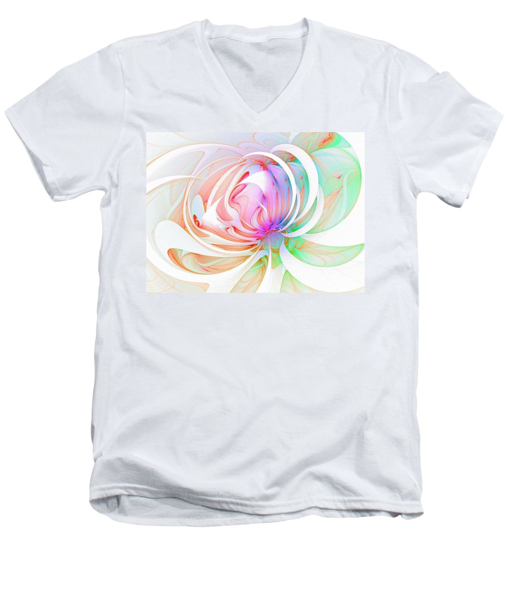 Digital Art Men's V-Neck T-Shirt featuring the digital art Joy by Amanda Moore