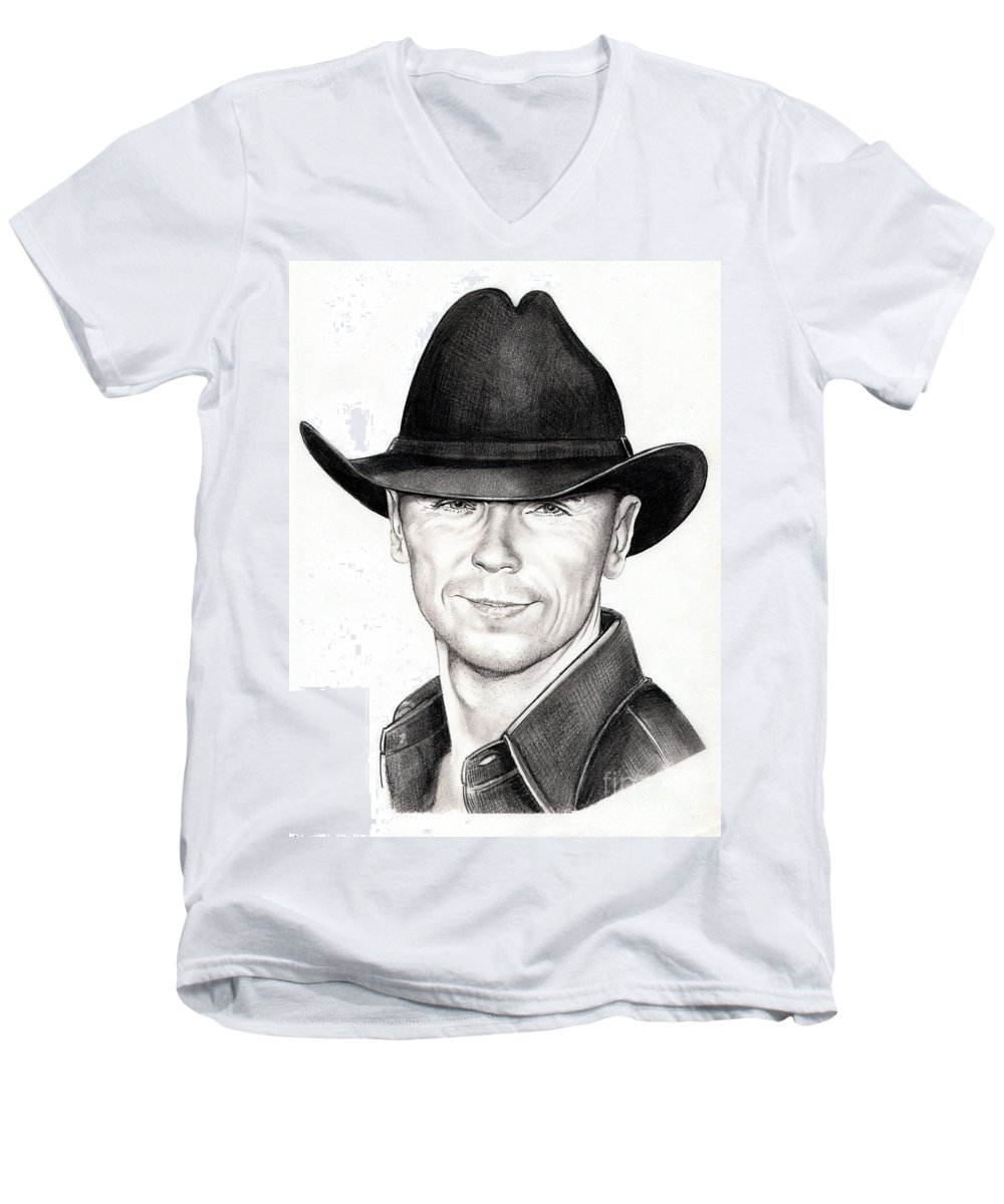 Portrait Men's V-Neck T-Shirt featuring the drawing Kenny Chesney by Murphy Elliott