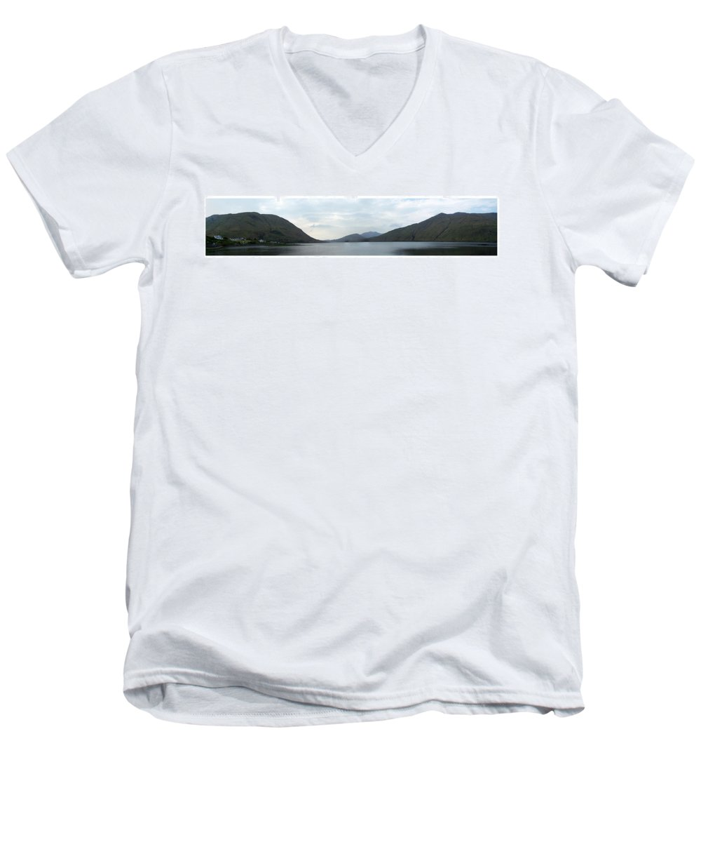 Landscape Men's V-Neck T-Shirt featuring the photograph Killary Harbour Leenane Ireland by Teresa Mucha