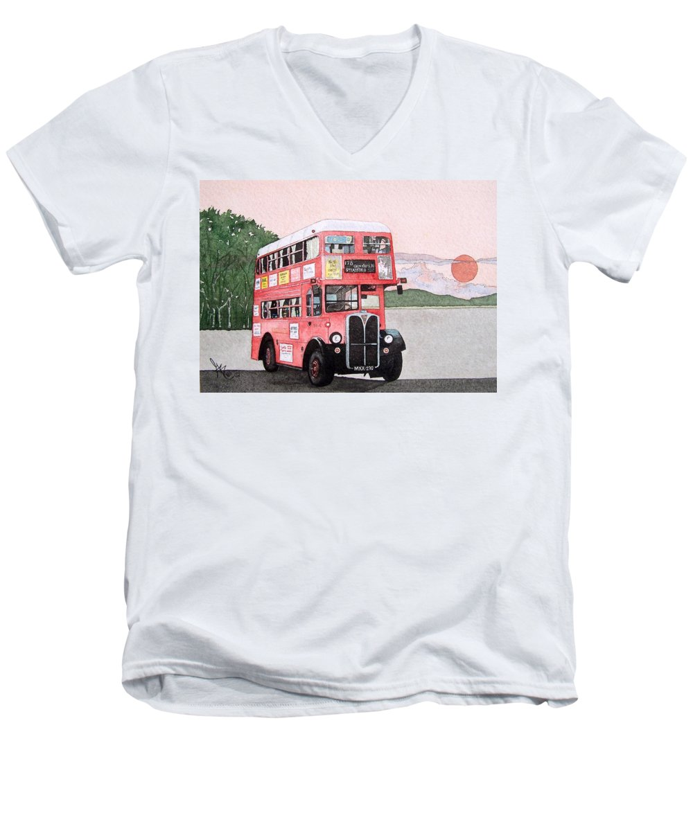 Bus Men's V-Neck T-Shirt featuring the painting Kirkland Bus by Gale Cochran-Smith