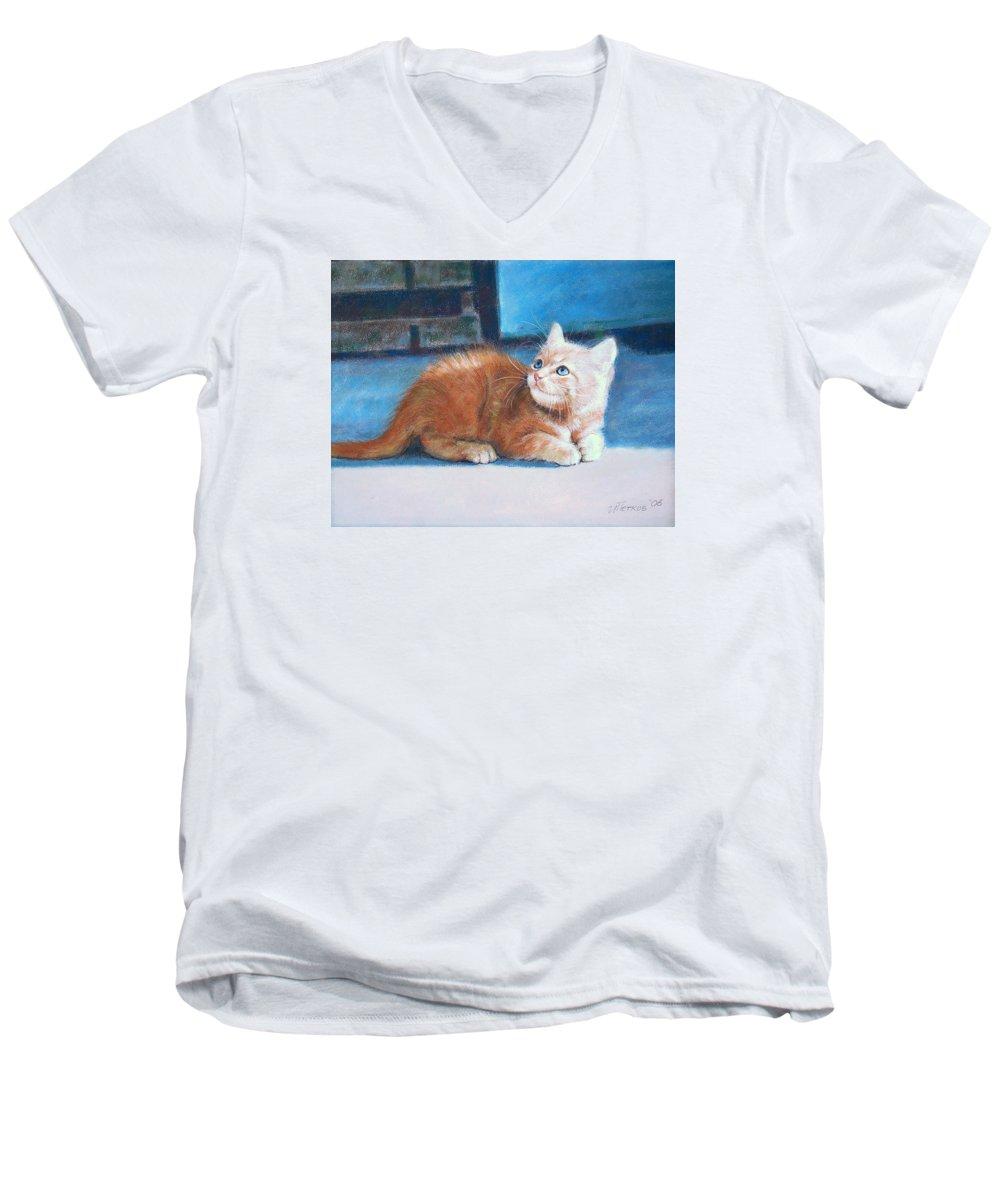 Cats Men's V-Neck T-Shirt featuring the pastel Kitten by Iliyan Bozhanov