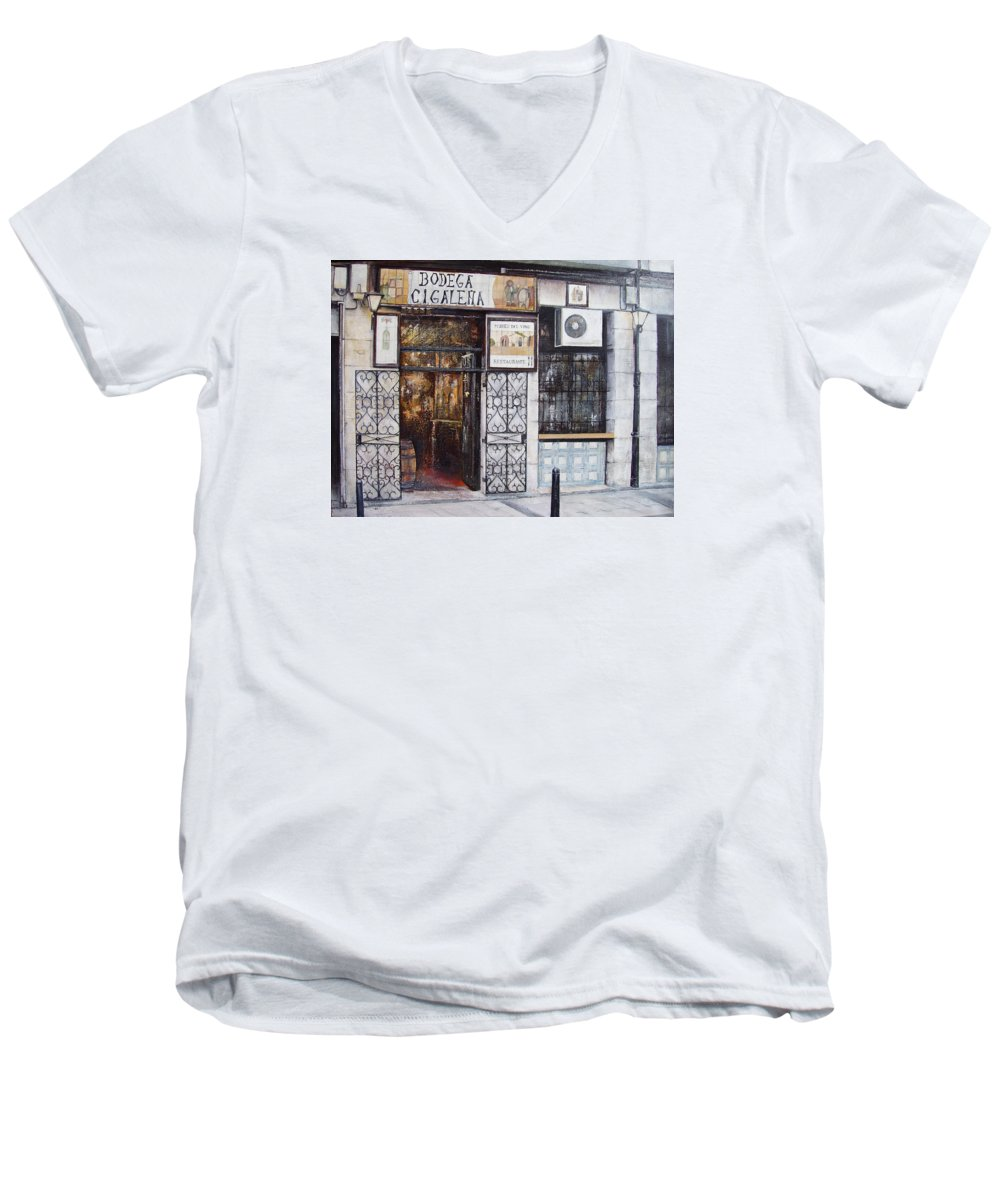 Bodega Men's V-Neck T-Shirt featuring the painting La Cigalena Old Restaurant by Tomas Castano