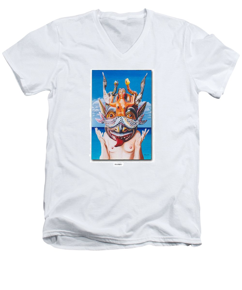 Hyperrealism Men's V-Neck T-Shirt featuring the painting La Sirena by Michael Earney