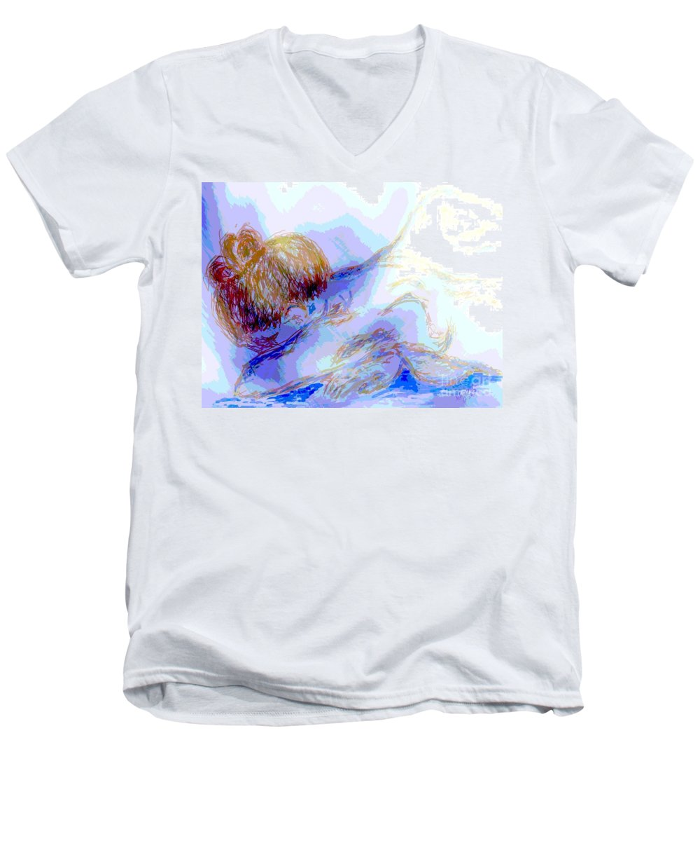 Lady Men's V-Neck T-Shirt featuring the digital art Lady Crying by Shelley Jones