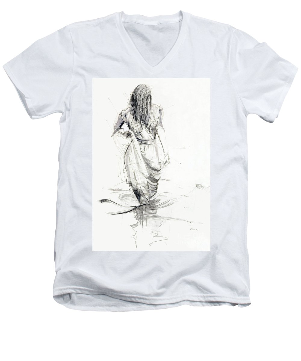 Woman Men's V-Neck T-Shirt featuring the drawing Lady In The Waters by Kerryn Madsen-Pietsch
