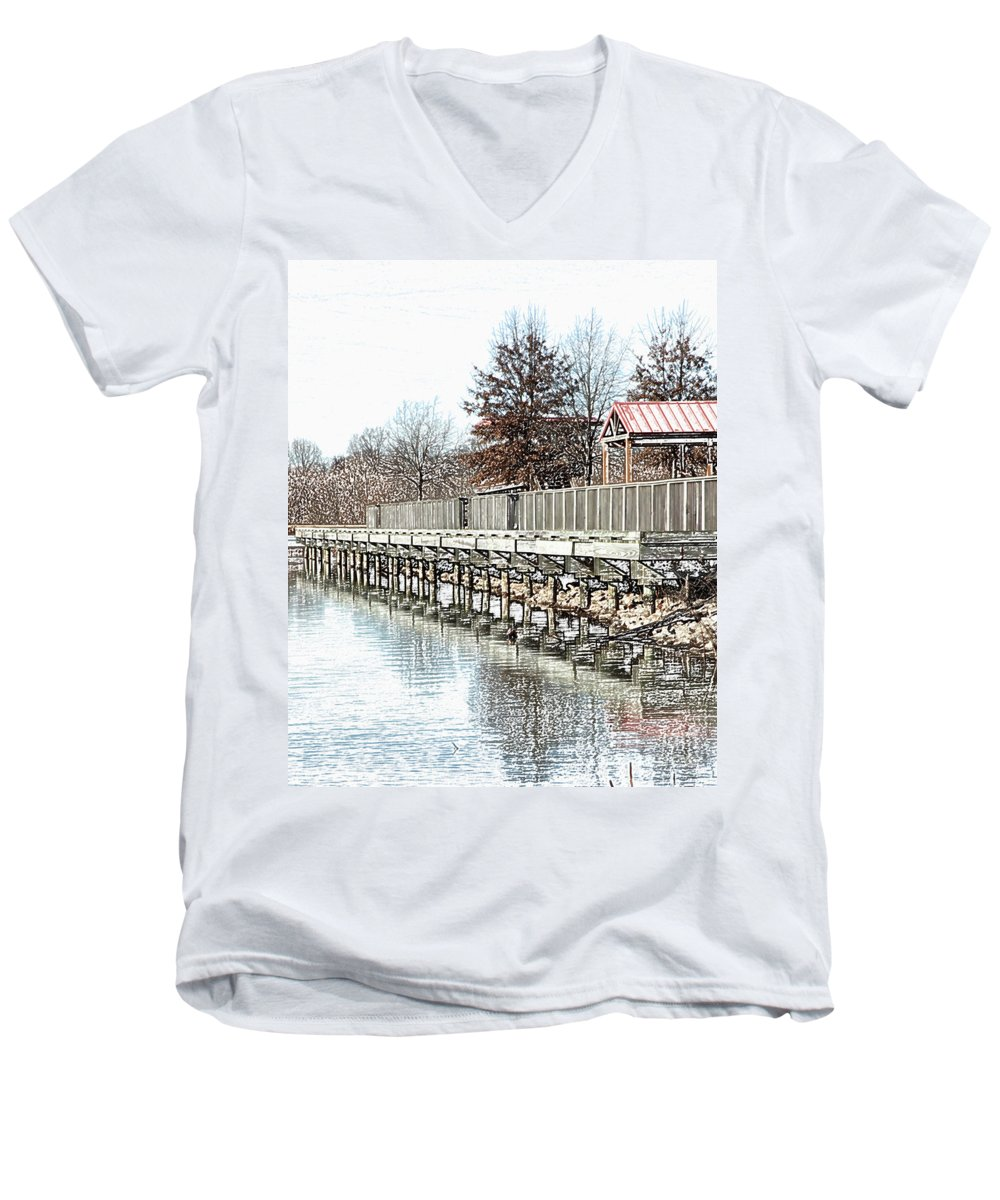 Lakes Men's V-Neck T-Shirt featuring the photograph Lake by Amanda Barcon