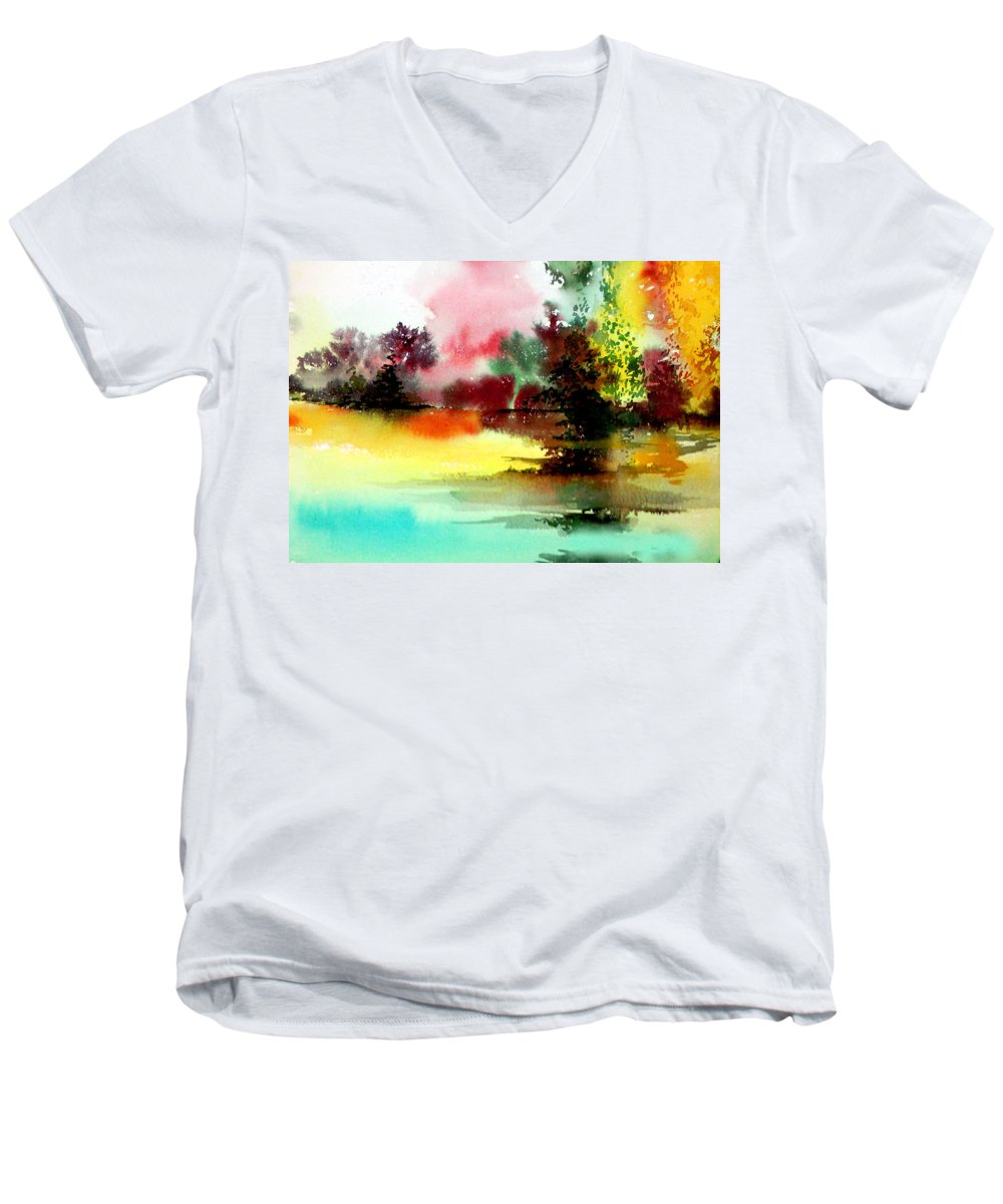 Nature Men's V-Neck T-Shirt featuring the painting Lake In Colours by Anil Nene
