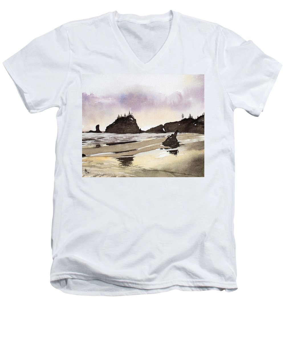 Washington Men's V-Neck T-Shirt featuring the painting Lapush by Gale Cochran-Smith
