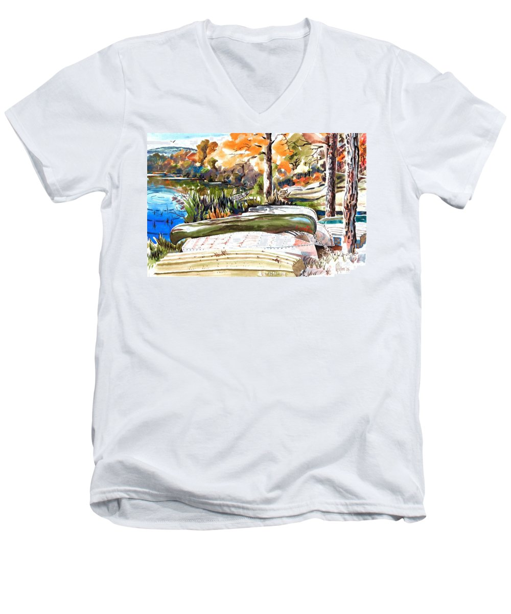 Last Summer In Brigadoon Men's V-Neck T-Shirt featuring the painting Last Summer In Brigadoon by Kip DeVore