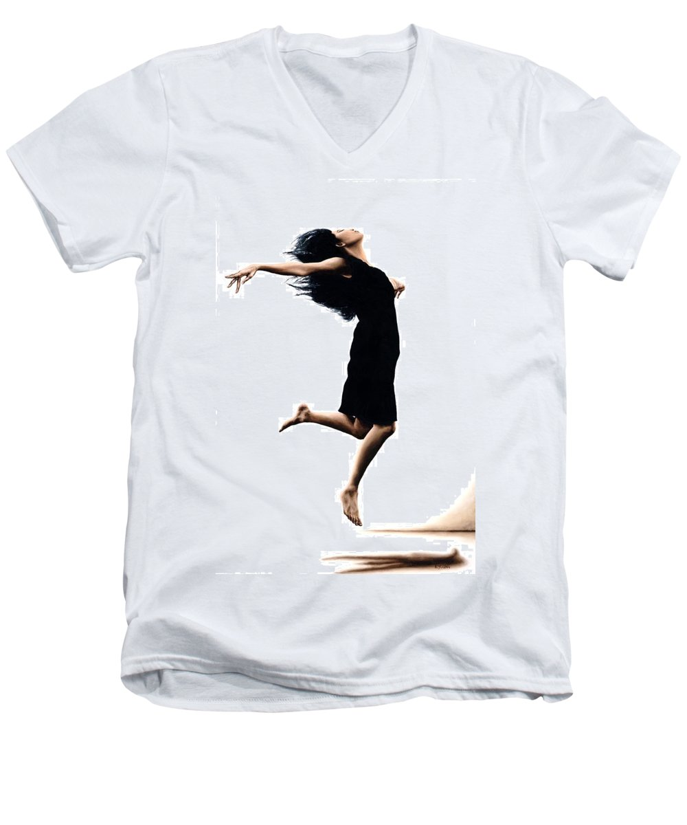 Ballet Men's V-Neck T-Shirt featuring the painting Leap Into The Unknown by Richard Young