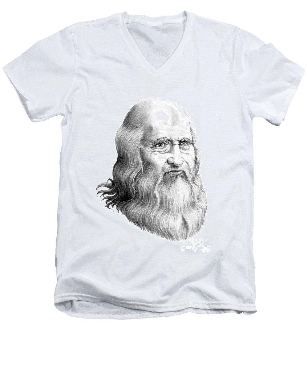 Famous Person Men's V-Neck T-Shirt featuring the drawing Leonardo Da Vinci by Murphy Elliott