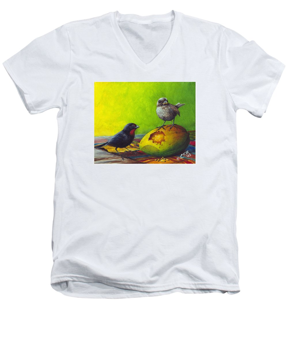 Chris Cox Men's V-Neck T-Shirt featuring the painting Lesser Antillean Bullfinches And Mango by Christopher Cox