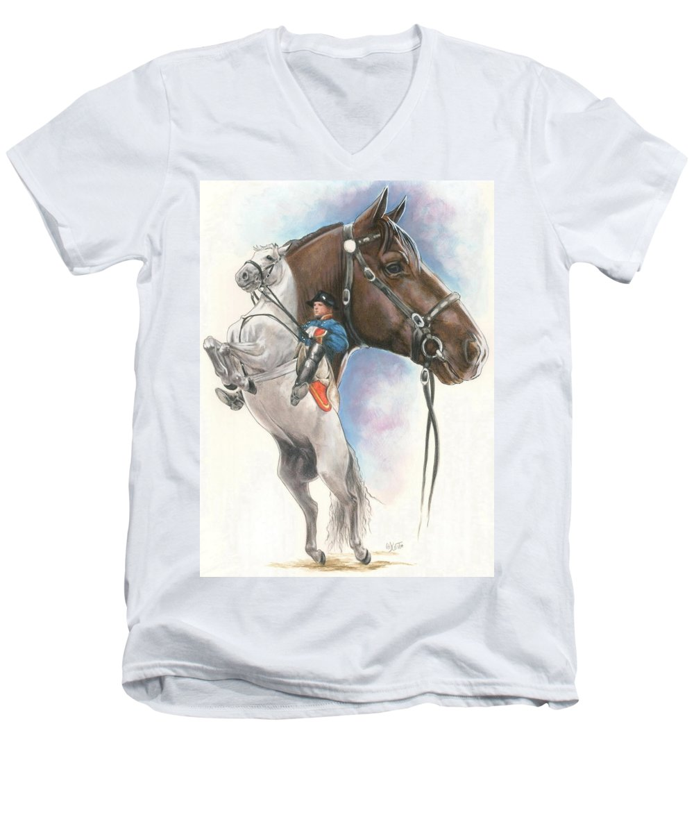 Equus Men's V-Neck T-Shirt featuring the mixed media Lippizaner by Barbara Keith