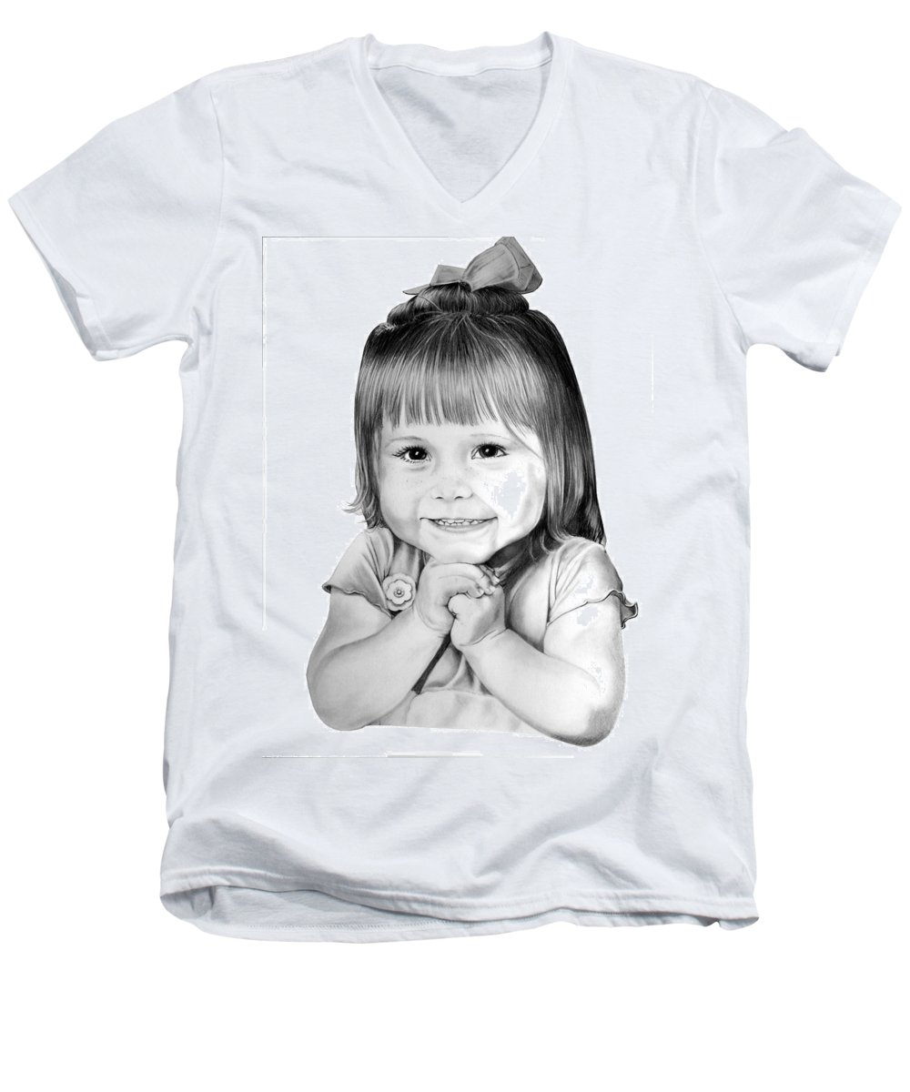 Child Men's V-Neck T-Shirt featuring the drawing Little Bailey by Murphy Elliott