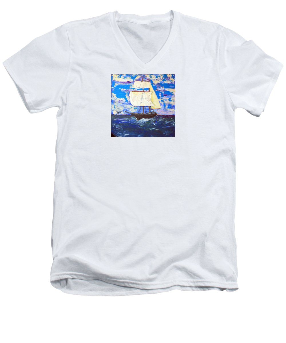 Impressionist Painting Men's V-Neck T-Shirt featuring the painting Little Clipper by J R Seymour