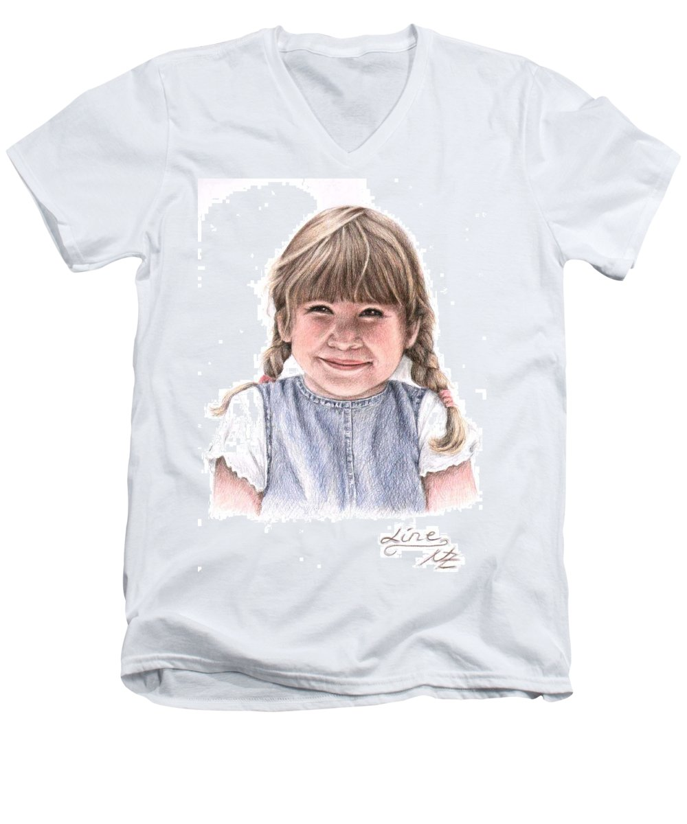 Girl Men's V-Neck T-Shirt featuring the drawing Little Girl by Nicole Zeug