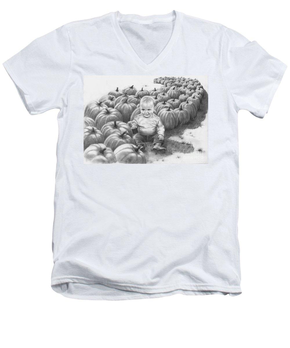Charity Men's V-Neck T-Shirt featuring the drawing Little Pumpkin by Murphy Elliott