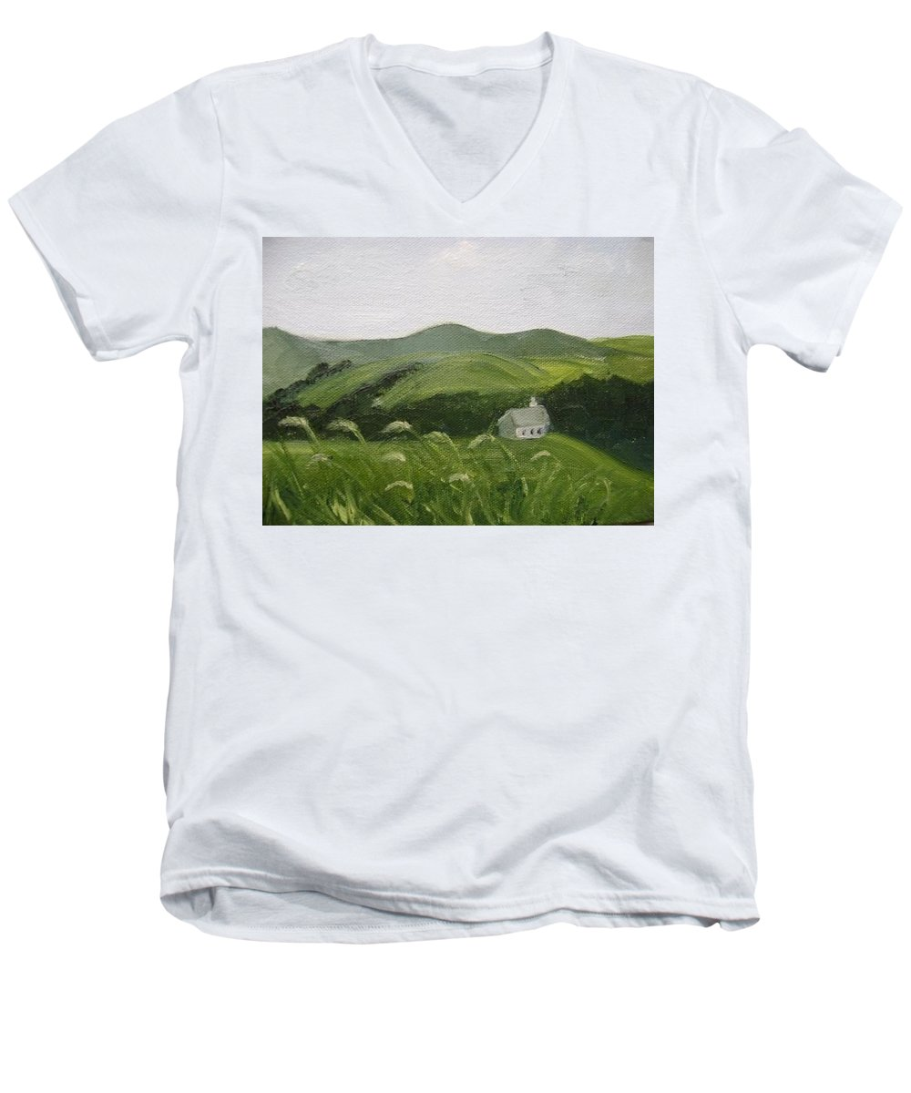 Landscape Men's V-Neck T-Shirt featuring the painting Little Schoolhouse On The Hill by Toni Berry