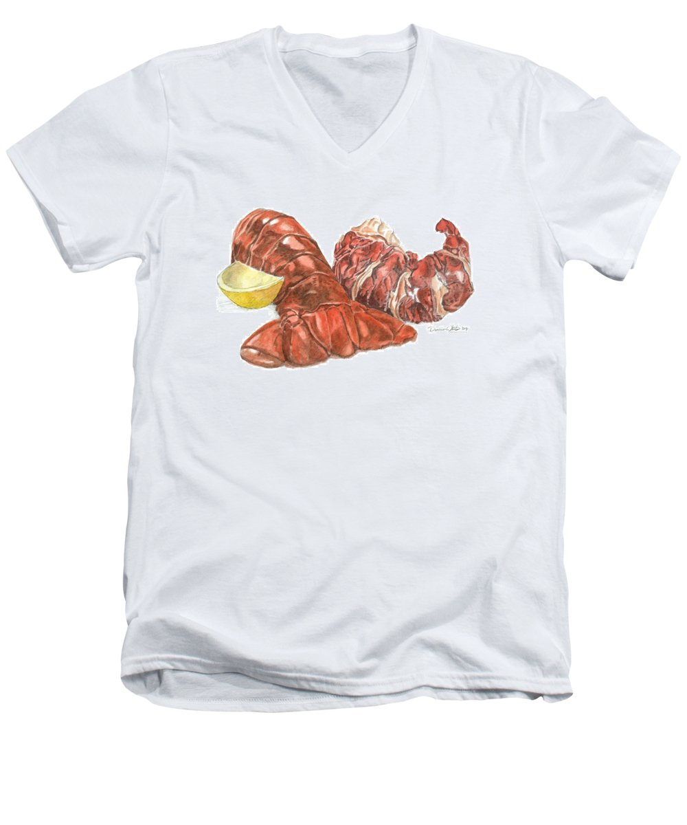 Lobster Men's V-Neck T-Shirt featuring the painting Lobster Tail And Meat by Dominic White