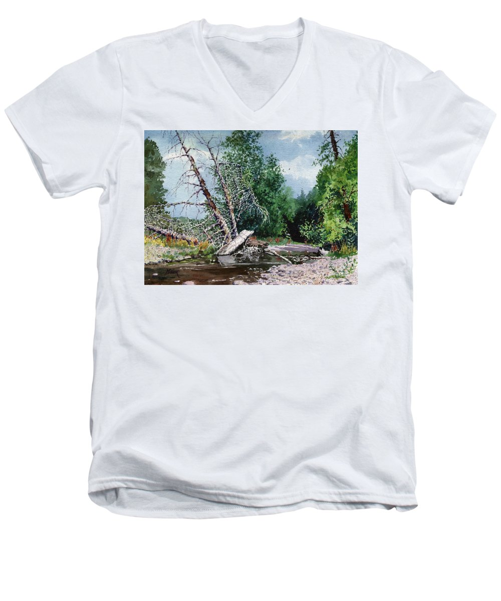 Washington State Men's V-Neck T-Shirt featuring the painting Log Jam by Donald Maier