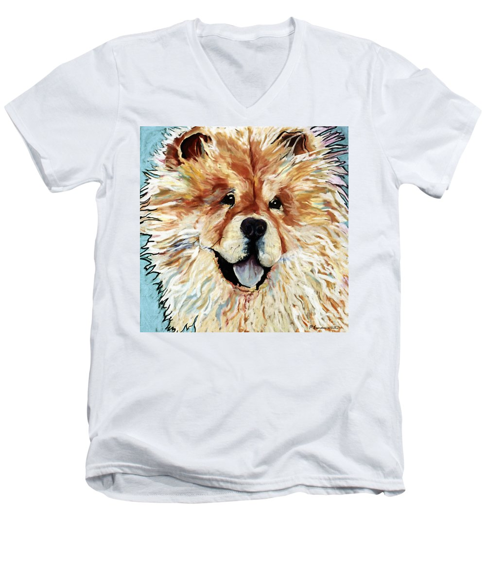 Chow Chow Men's V-Neck T-Shirt featuring the pastel Madame Chu Cho by Pat Saunders-White